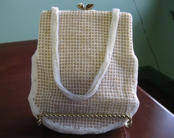 Vintage '40's Ivory and Tan Pearl Beaded Purse Handmade in Belgium