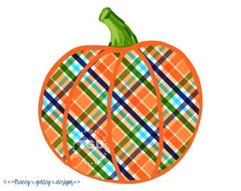 Pumpkin clip art, plaid pumpkin clip art, halloween clip art, Autumn clip art, fall clip art, Autumn clipart, fall clipart  - Style 4