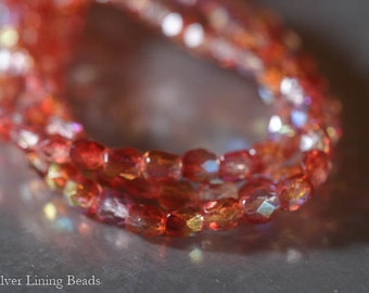 Sizzling (50) - Firepolished Czech Glass Bead - 4mm - Faceted Round