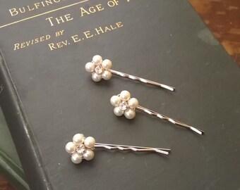 Marthe Pearl and Rhinestone Hair Bobbies Bridal Headpiece vintage style brooch