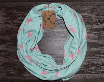 Teal and Pink Fawn Jersey Cotton Infinity Scarf