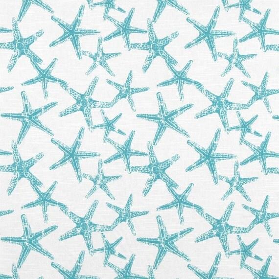 SHIPS SAME DAY Coastal Starfish Fabric Turquoise Blue Beach