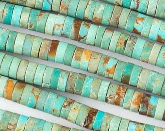 Turquoise Heishi Beads - Chinese Turquoise - Grade AAA Quality -  2x6mm - Gemstone - 10 Beads per Order