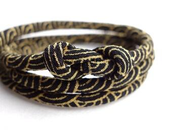 Japanese jewelry Kimono Bracelet, Necklace - HANA MORI - Japanese chirimen fabric cord, golden, Sashiko wave deep yellow in black