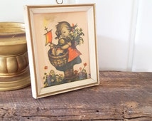 Vintage Hummel Girl With Lamb in Basket Small Cream and Gold Painted Framed Notecard