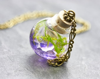 Seaweed necklace Amethyst - real water plant-