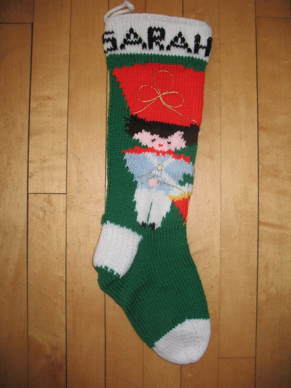 Vintage Christmas Stocking Knitting Pattern : Knit Vintage Christmas Stocking by NancyBKnitting on Etsy