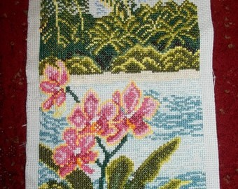 Completed Cross Stitch Tropical Beach