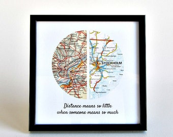Long Distance Relationship Map, Long Distance Boyfriend Gift, LDR Christmas Gift, Going Away Gift, Personalized Long Distance Map,