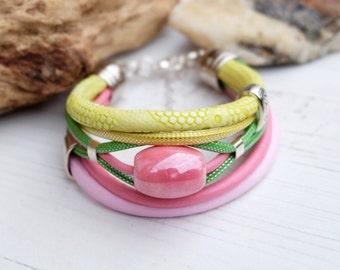 Multistrand bangle leather bracelet-Yellow Pink Bracelet-Pastel Summer Bracelet-Leather Hippie Boho Bohemian Bracelet-Multicolour Bracelet