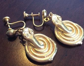 Coiled Cobra Gold Dangle Earrings - Drop Screwback Earrings - Vintage Alva Museum Replicas - Snake