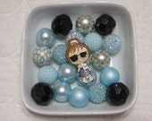 Big Bubble Gum Beads-DIY-Rhinestone Tiffany Girl Kit-Chunky Bead Necklace-Supplies-Pendant