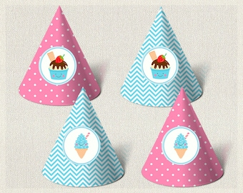 Printable Party Hats Birthday Ice Cream Pink 1st 2nd 3rd Blue Girl IV-13