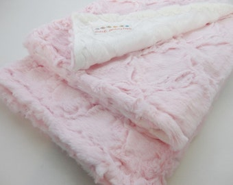 Pink Lattice Minky Baby Blanket - Baby Girl - Made to Order