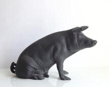 Cast Iron Piggy Bank / Antique Piggy Bank / Vintage Pig