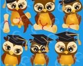 Owl Clipart, Graduation Clipart, Cute Owl Clipart, Graduation Owls Clipart, Graduation caps, Commercial Use, AMB-266