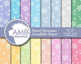 Christmas Digital Paper, Snowflake pastel papers, Christmas shabby chic papers, Snowflake patterns, commercial use, AMB-574