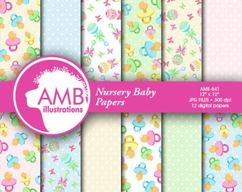 Nursery digital papers, Baby papers, Newborn papers, Nursery Pastel papers, Polka dot papers,Pastel papers, commercial use, AMB-841
