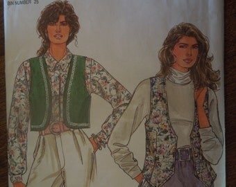 Simplicity 7985, size petite-xlarge, lined vests, UNCUT sewing pattern, craft supplies