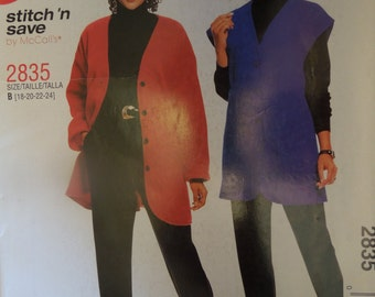 Stitch n save by McCalls 2835, sizes 18-24, UNCUT sewing pattern, craft supplies,petite, misses, womens, jacket, vest, pull on pants