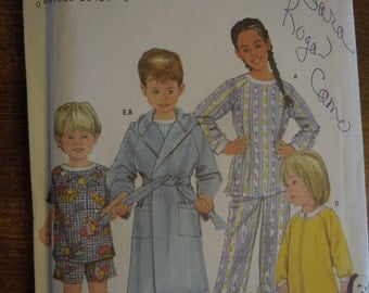 Simplicity 5874, sizes 3,4,5 on top C and sizes 3-6 on A,B,D,E, F, sewing pattern, craft supplies, pajamas, robe, top, shorts, childrens
