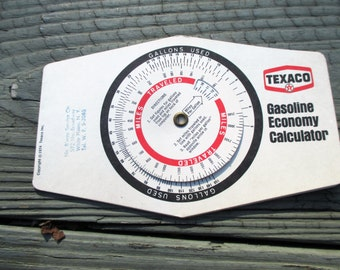 Vintage Texaco Gasoline Economy Calculator