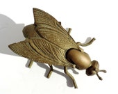 French Vintage Brass Fly Ashtray//Fly Trinket Dish//Brass Bee//Brass Insect