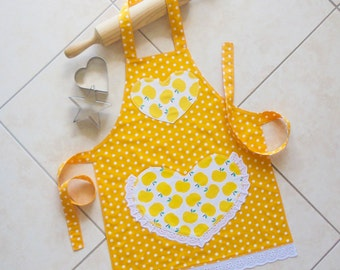 Kids Apron yellow, girls kitchen craft art play apron, child lined cotton apron with apples polka dots & lace heart pocket, Pretty in Yellow