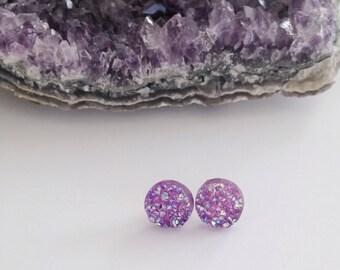 Lavender druzy earrings- 10 mm