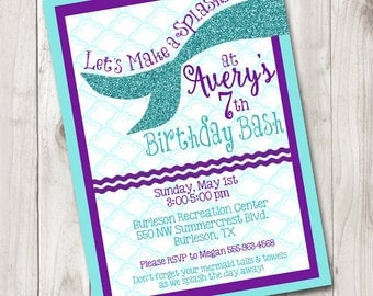 Mermaid Make A Splash Birthday Invitation