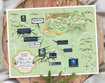 Custom Map, Napa Valley Map, Wedding Map ,Destination Wedding, California Map Design, Custom Illustrated Map, Wedding Itinerary, Guest bag