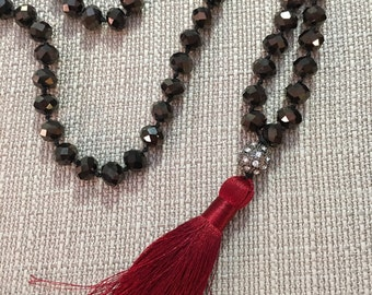 Gunmetal Beaded Necklace with Red Silk Tassel