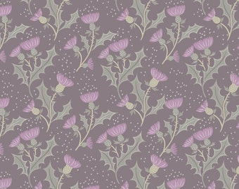 Lewis & Irene Patchwork Quilting Fabric A Walk in the Glen - A89.6 - Thistle on warm grey