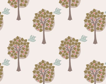 Lewis & Irene Patchwork Quilting Fabric Dove House A167.1 - Love tree on light cream