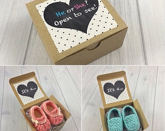 Gender Reveal Box - Pregnancy Announcement to Grandparents - Pregnancy Reveal Grandparents - New Baby Announcement - Pregnancy Reveal Gift