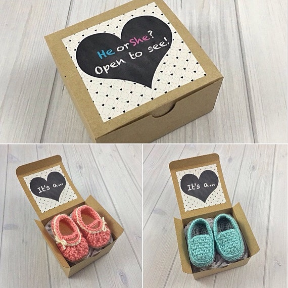 Baby Gift Announcement Ideas : Gender reveal box pregnancy announcement to grandparents