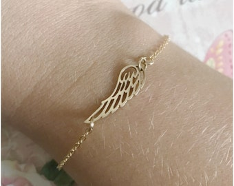 Sideways Wing Bracelet - Gold Angel Wing Bracelet - One Wing Bracelet - Everyday Jewelry - Simple Angel Bracelet - Gift for Her Under 25