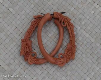 Oval Hibiscus Wood Stick Post Earrings, Wood Post Earrings, Saba Wood Earrings