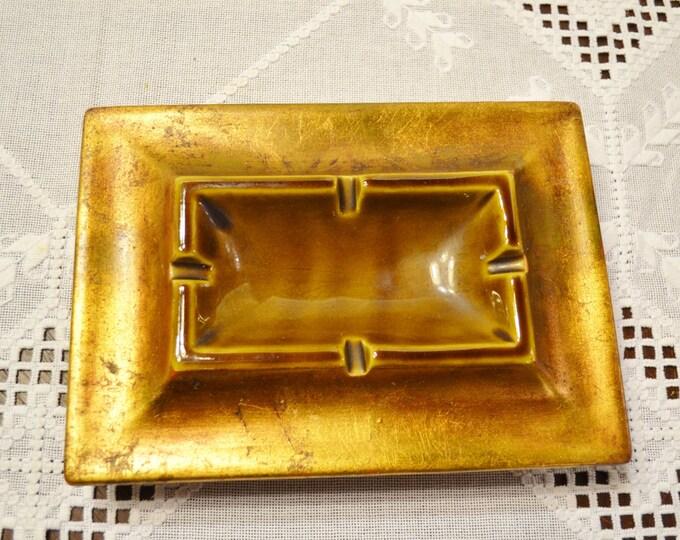 Vintage Ashtray Freeman McFarlin Gold Leaf Brown Glaze California Pottery 283 PanchosPorch