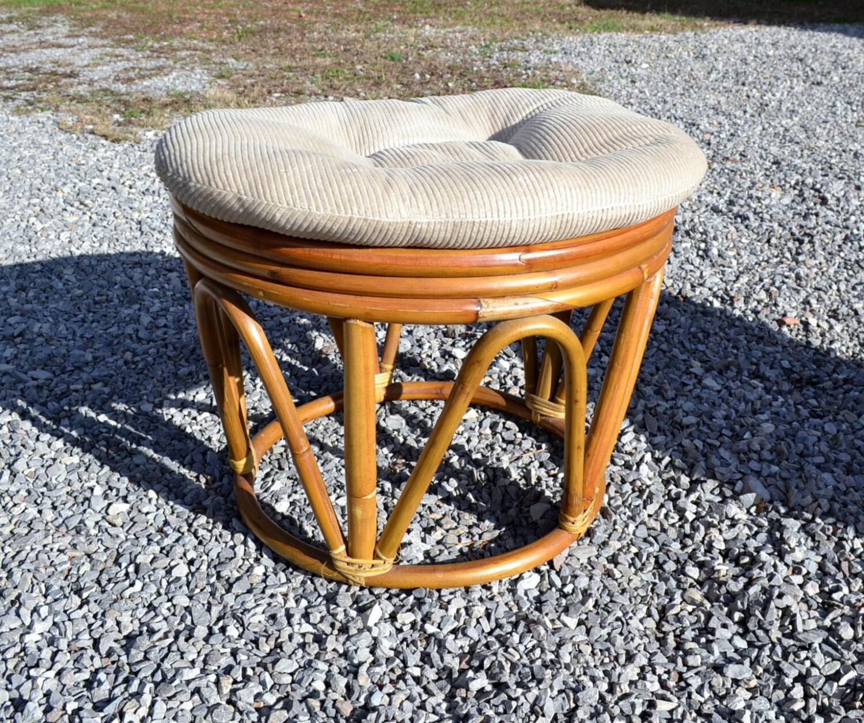 Vintage Rattan Bamboo Footstool Round Ottoman Natural Tone