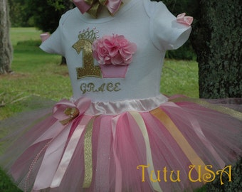 Pink and Gold 1st Birthday Girl Outfit,Baby Girl First Birthday,One Year Old Tutu Birthday Dress Girl Pink Tutu Dress For Baby,1st Birthday