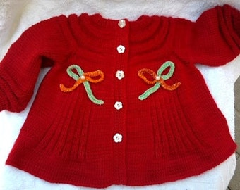 hand made red  knitted dress for girl