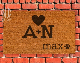 """Welcome Mat, Laser Engraved  Door Mat, 18"""" x 30"""", Personalized mat, Rubberized backing,  Custom Door Mat, dog lover, initials with heart"""