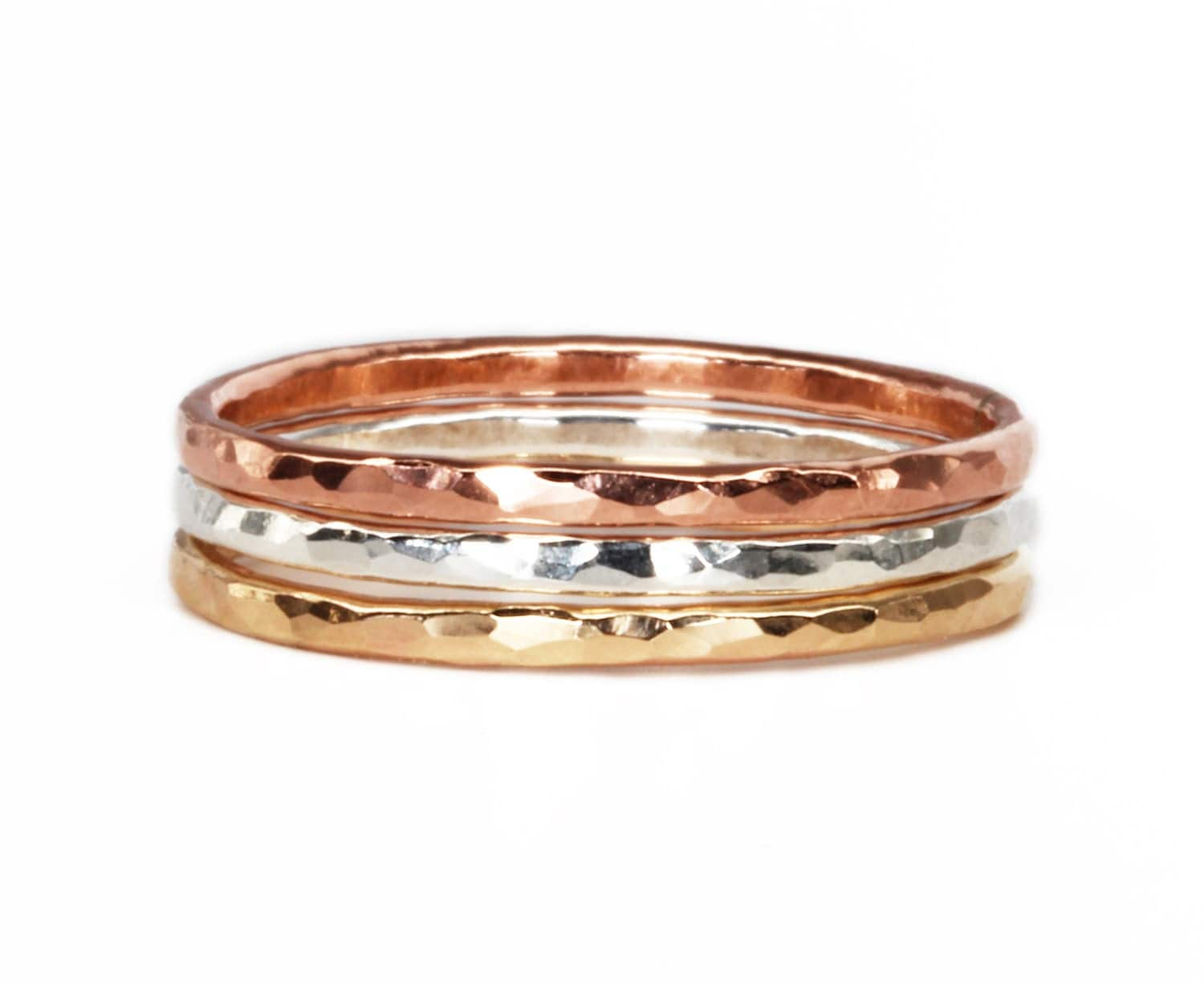 gold rose gold and silver stacking rings hammered gold ring. Black Bedroom Furniture Sets. Home Design Ideas