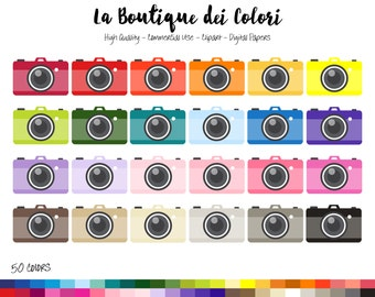 50 Rainbow Camera Clip art, Cute Digital illustrations PNG, Photo Colorful Compact Cameras Clipart graphics, Planner Stickers Commercial Use
