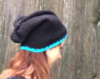 Crochet winter hat, women hat black slouchy hat  Womens Hat women beanie black women beanie  slouchy Hat, autumn hat black women hat