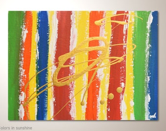 """Inexpensive multicolor fine art painting on watercolor paper:""""Colors in sunshine"""" -12x9 inches. Original abstract art,wall hanging for frame"""