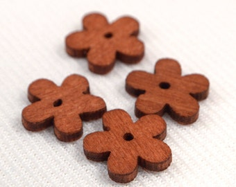 Wood Flower Beads, 10 Loose Red Brown Flower Wood Beads, Jewelry Making Supplies, DIY Craft Supplies, Destash Wood Beads (W95)
