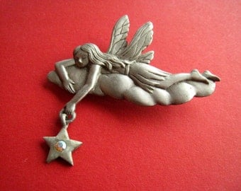 Brooch fairy on cloud vintage 80