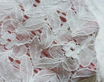 SALE Leaves Floral Lace Fabric in Off white for DIY Wedding, Curtains, Garment